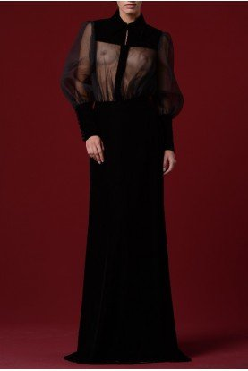 John Paul Ataker Black Sheer Panel Pleated Long Gown JPA 1234