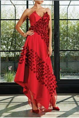 John Paul Ataker 3D Floral Asymmetric Hem Taffeta Dress JPA 2167
