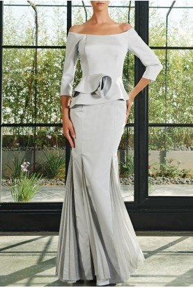 Gray Pleated Mesh and Faille Long Dress JPA 2165
