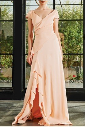 Salmon Draped Viscose Satin Long Dress JPA 2152