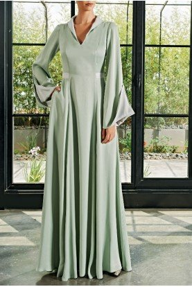Light Green Viscose Satin Long Dress JPA 2069