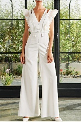 Organza Ruffle Detailed Faille Jumpsuit JPA 2054