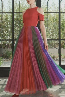 Multi Color Organza Pleated Faille Dress JPA 2168