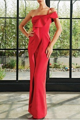 John Paul Ataker Red Ruffle Detailed Faille Long Dress JPA 2111