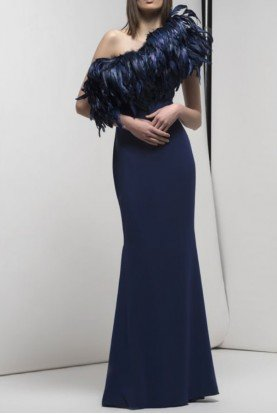 One Shoulder Grifton Gown Navy Blue Evening Dress