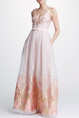 Blush Sleeveless Metallic Fils Coupe Gown N31G0936