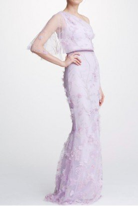 Marchesa Notte Lilac One Shoulder Embroidered Gown Pastel Dress