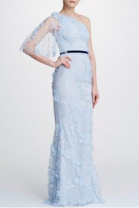 Marchesa Notte Light Blue Embroidered One Shoulder Belted Gown