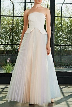 John Paul Ataker Multi Color Pastel Organza Pleated Gown