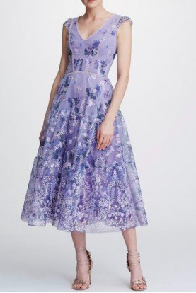 Lilac Cap Sleeve Organza Midi Tea Dress N32C0940