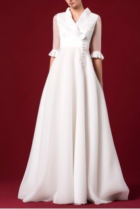 Pleated Organdy Ruflled A Line Gown JPA 1279