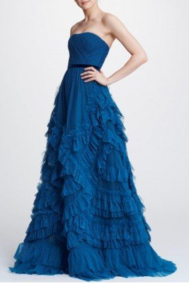 Strapless Textured Blue Tulle Ball Gown N32G0928
