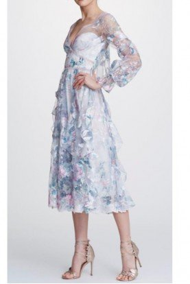 Pastel Floral Bishop Sleeve Midi Dress N32C0947