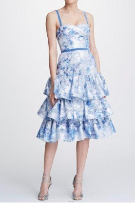 Marchesa Notte Light Blue Metallic Printed Tiered Cocktail Dress