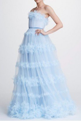 Marchesa Notte Light Blue Strapless Tulle Ball Gown N32G0920
