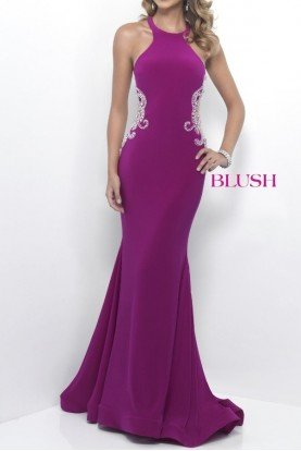 11202 Beaded Side Illusion Gown Magenta Prom Dress