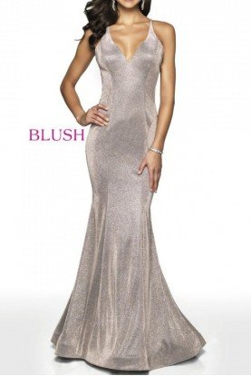 11726 Fitted Shimmer Gown with Open Back