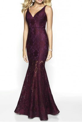 Blush Prom 531 Burgundy Lace Gown