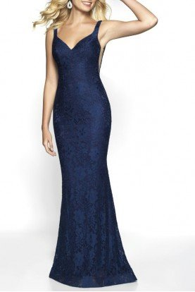 530 Navy Blue Lace Gown with Train