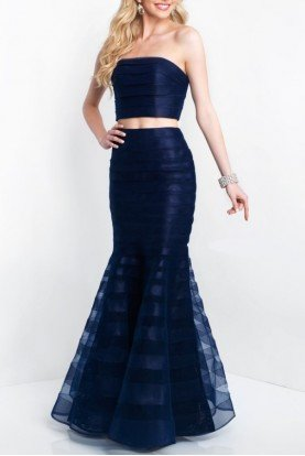 11507 Navy Blue Two Piece Mermaid Dress