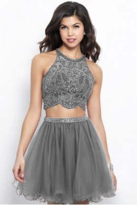 360 Silver Two Piece Homecoming Dress