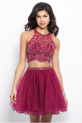 360 Two Piece Burgundy Homecoming Dress