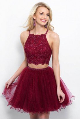 11361 Burgundy Lace Two Piece Homecoming Dress