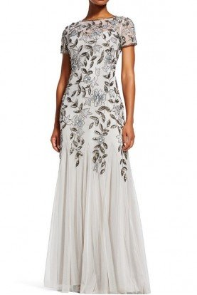 Adrianna Papell Silver Floral Godet Gown Beaded Short Sleeve Dress