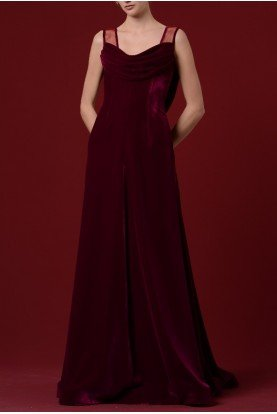 John Paul Ataker Fuchsia Draped Shiny Velvet Gown JPA 1229