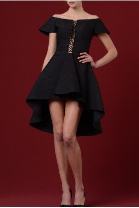 John Paul Ataker Black Lace Up Pleated Cocktail Dress JPA 1169