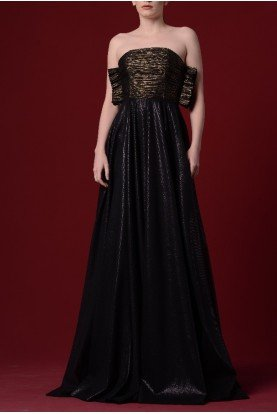 John Paul Ataker Pleated Foiled Sheer Mesh Gown  JPA 1271