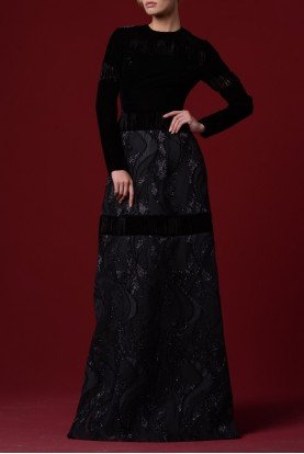 Lazer Cut Velvet Floral Patterned  Gown  JPA 1255