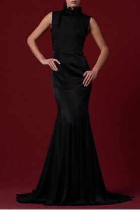 John Paul Ataker Black Ruffled High Neckline Mermaid Dress JPA 1245