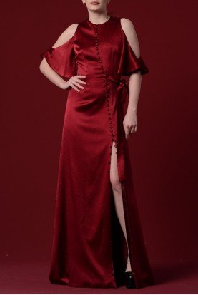 Red Button Up Satin Viscose Stretch Dress JPA 1262
