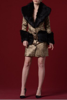 Metallic Jacquard with Faux Fur Jacket JPA 1147