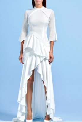 John Paul Ataker Ruffled Asymmetrical Viscose Hi Low Dress JPA 1464