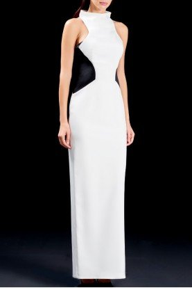 John Paul Ataker Structured two-toned faille long dress JPA 1513