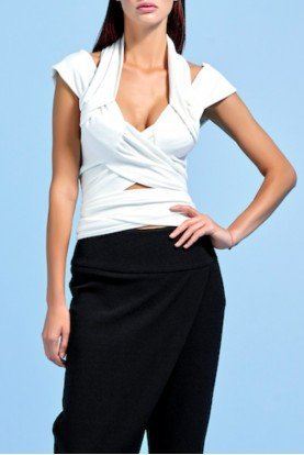 John Paul Ataker Draped Stretch Knit Jacquard Top JPA 1543