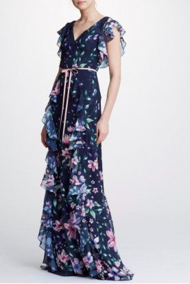 Sleeveless Blue Floral Chiffon Gown N32G0931