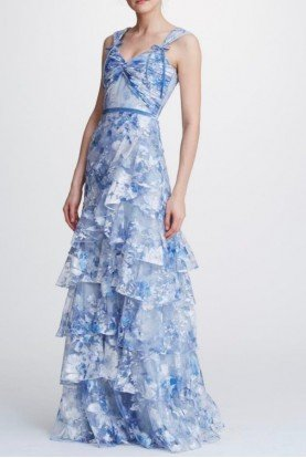 Light Blue Floral Embroidered Tiered Gown N32G0919