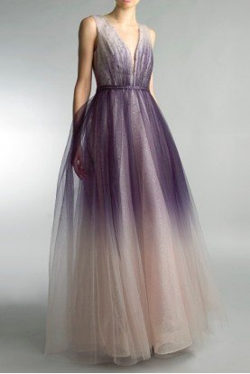 Nude Purple Ombre Sleeveless Pleated Evening Gown