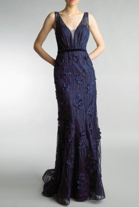 Navy Blue Deep V Neckline Fitted Evening Gown