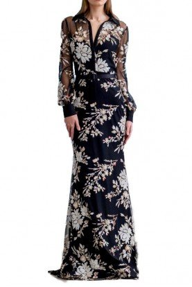 EG2719 Black Floral Sequin Long Sleeve Shirt Dress