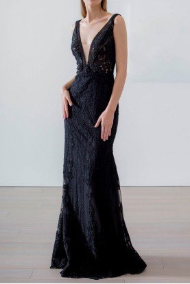 Black Sleeveless Plunging V Neck Gown CG-2107