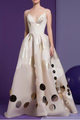 Ivory Nude Sleeveless Karis Circle Applique Gown