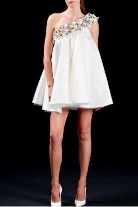 John Paul Ataker 3D Flower Detailed Taffeta Cocktail Dress JPA 1461