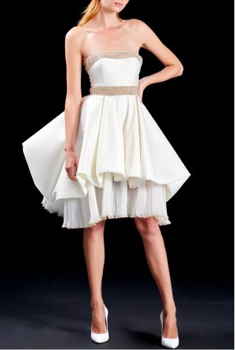 John Paul Ataker Strapless Pleated Organza Taffeta Dress JPA 1508