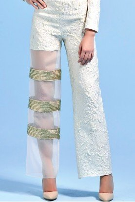 Metallic Cord Detailed Organza Jacquard Pants