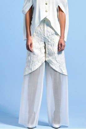 White Structured Jacquard and Organza Pants