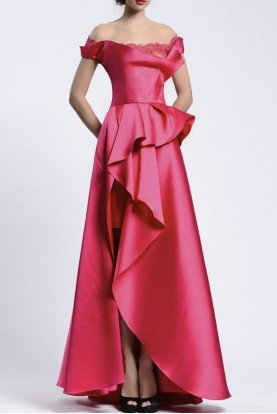 Beside Couture by Gemy Off the Shoulder Fuchsia Evening Gown